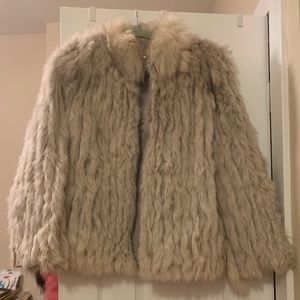 White/Beige Faux Fur Coat Perfect for Burning Man
